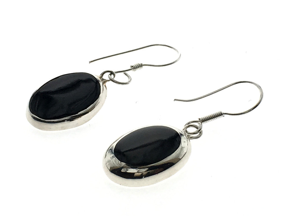 Onyx Oval .925 Sterling Silver Framed Earring - Essentially Silver Jewelry