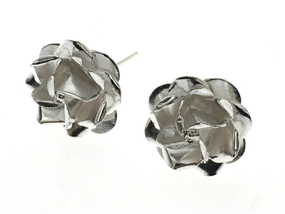 Rose 11mm Sterling Silver Stud