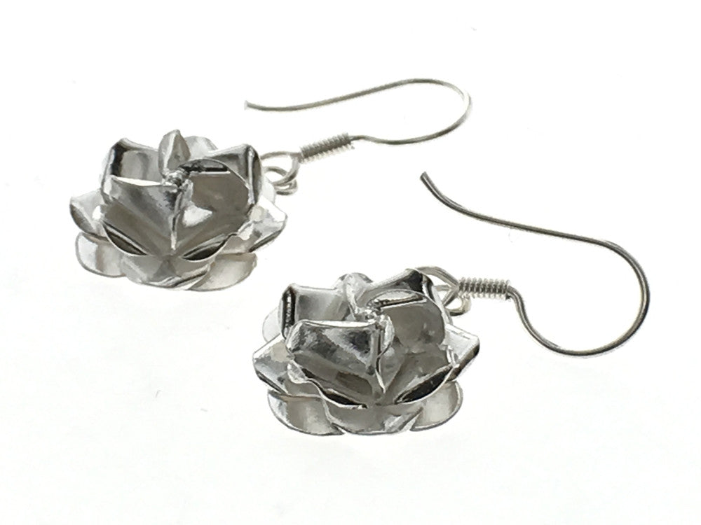 Rose Drop Sterling Silver Earrings - Essentially Silver Jewelry