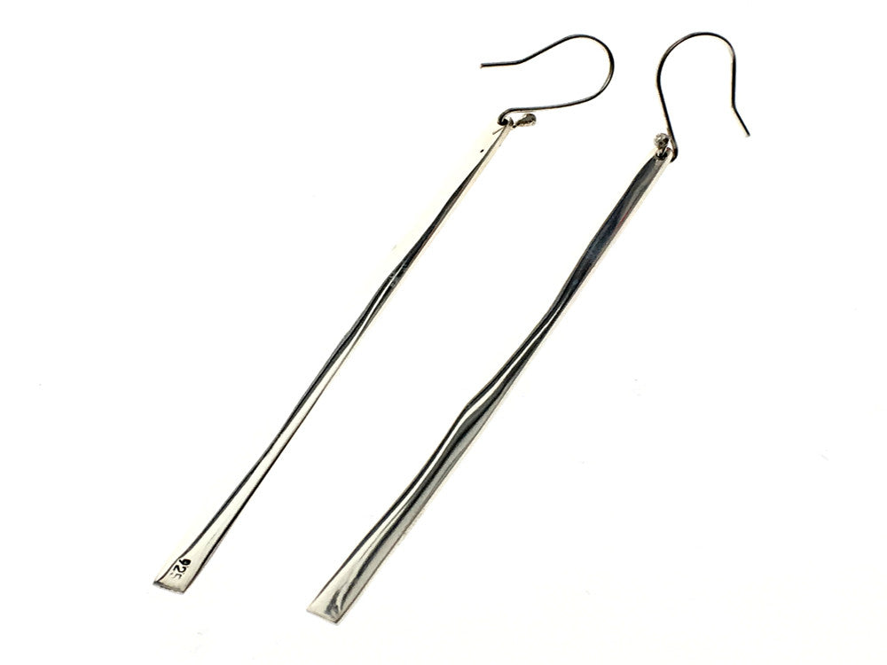Long Graduated Bar Sterling Silver Earring - Essentially Silver Jewelry