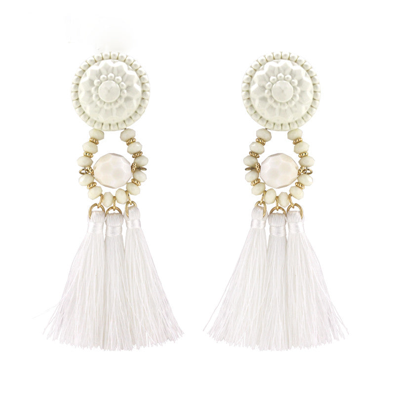 Tassel Fashion White Earrings