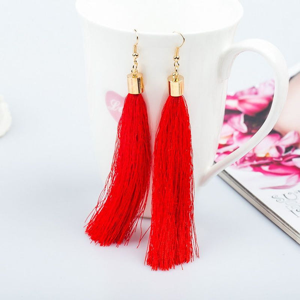 Tassel Red Long Fashion Earrings