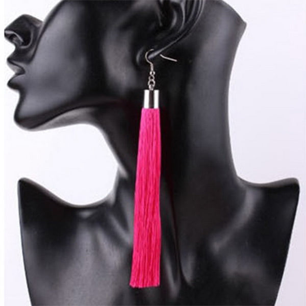 Tassel Pink Long Fashion Earrings
