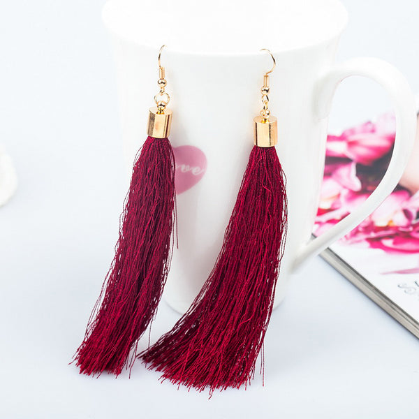 Tassel Burgundy Long Fashion Earrings