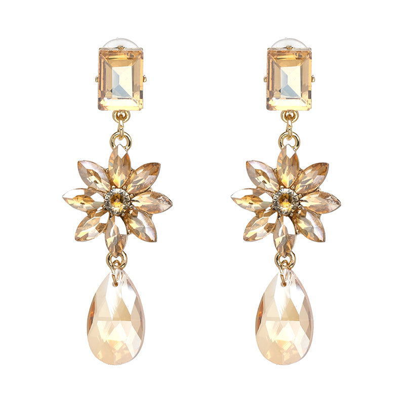 Crystal Drop Water Flower Fashion Earrings