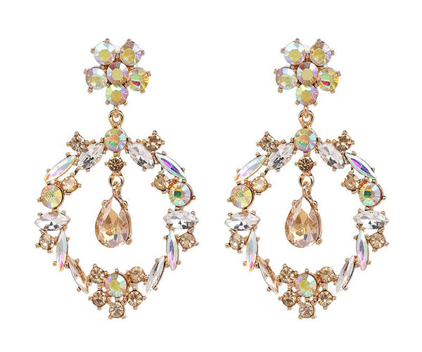 Crystal Flower Statement Fashion Earrings