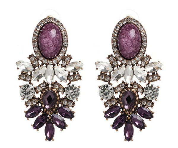 Crystal Purple Push Back Fashion Earrings