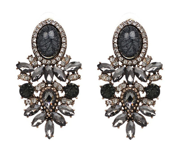 Crystal Black Push Back Fashion Earrings