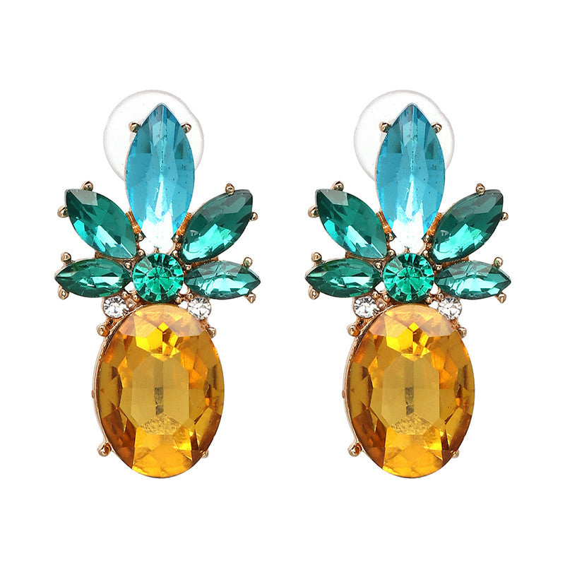 Crystal Pineapple Gem Fashion Earrings