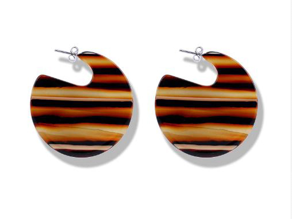 Boho Acrylic Acetate Striped Hoop Earrings
