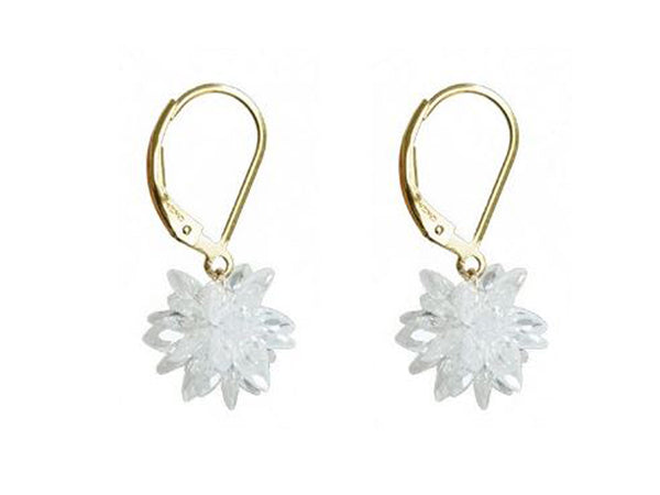 Gold Cubic Zirconia Cluster Drop Earring