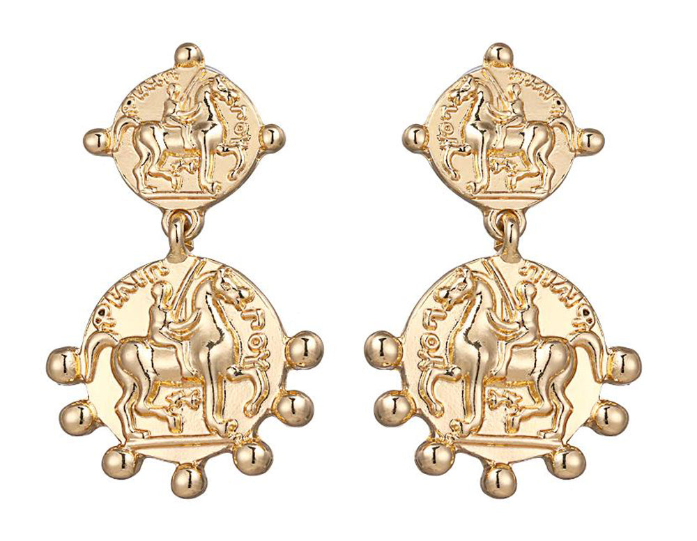 Fashion Gold Coin Drop Earrings