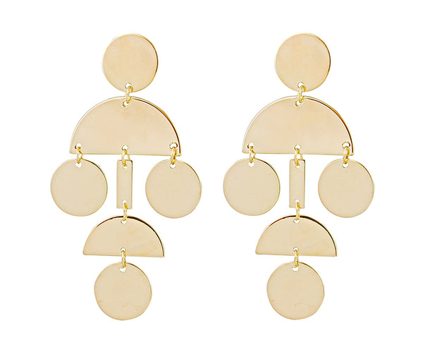 Gold Color Drop Bar Coin Disc Geometrical Earring