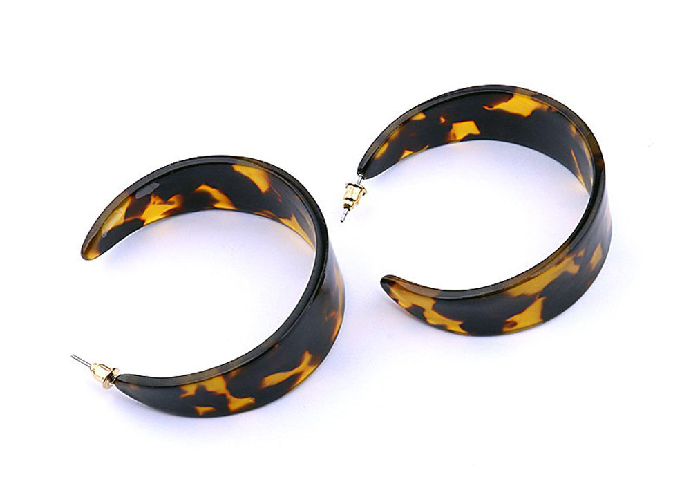 Tortoise Shell C Shaped Earrings