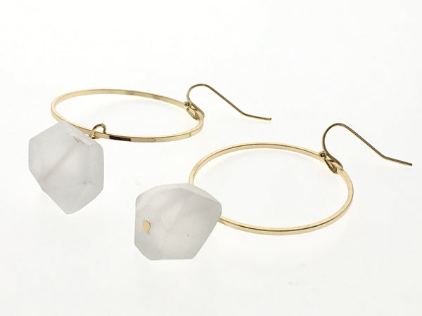 Round Big Hoop Natural Stone Earrings
