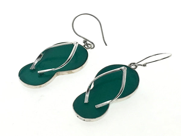 Turquoise Thongs .925 Sterling Silver Earrings - Essentially Silver Jewelry