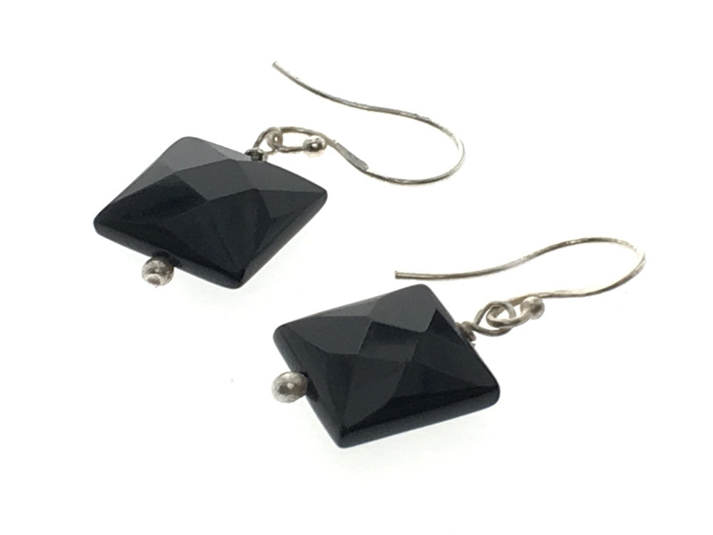Black Faceted Square Sterling Silver Earring - Essentially Silver Jewelry