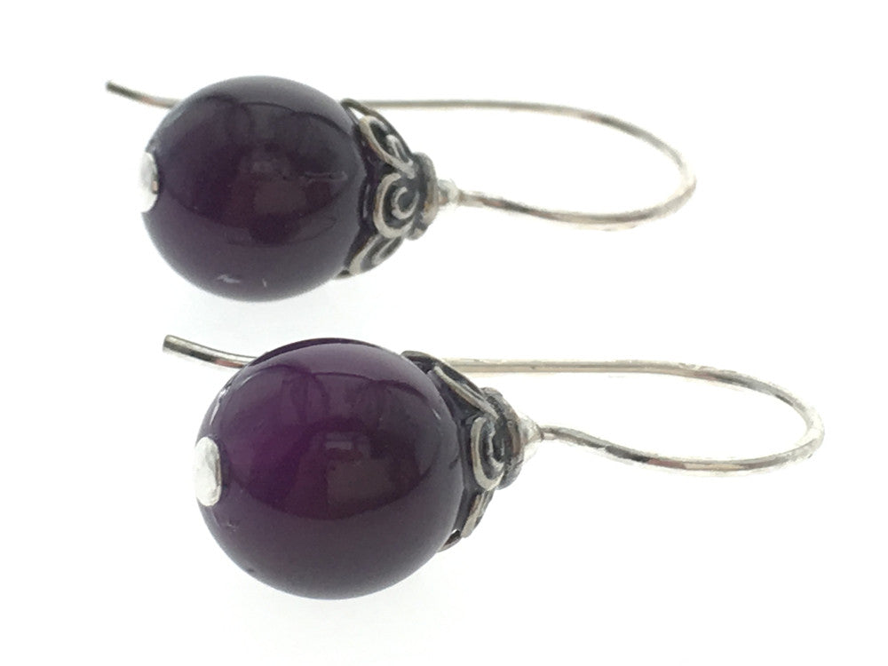 Amethyst Ball Drop 8mm Sterling Silver Earring - Essentially Silver Jewelry