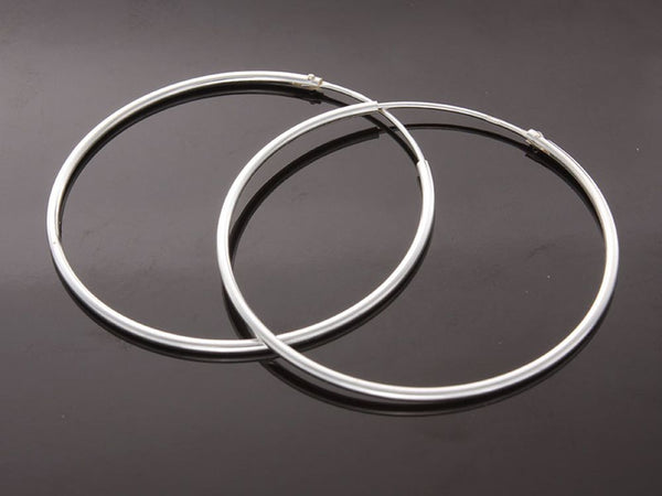 Hoop 1mm/37mm Plain Round Sterling Silver Earrings