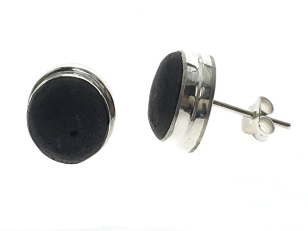 Lava 10mm Sterling Silver Framed Studs - Essentially Silver Jewelry