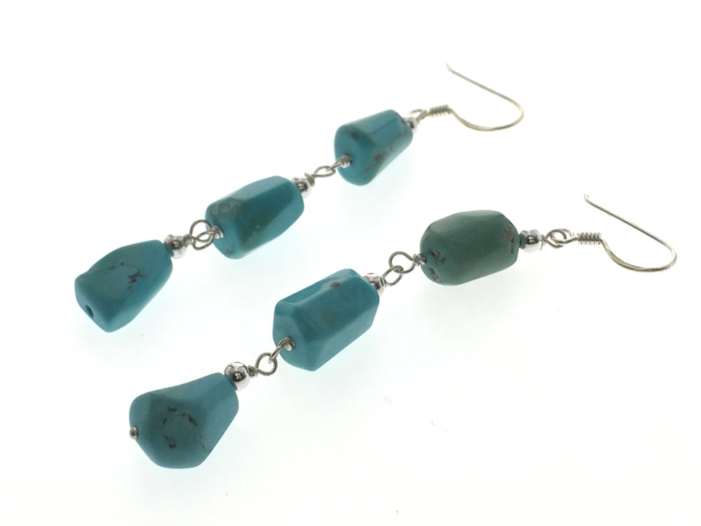 Turquoise Three Tier  .925 Sterling Silver Earrings