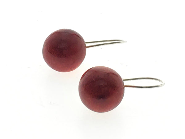Red Coral Ball Drop Sterling Silver Earrings - Essentially Silver Jewelry