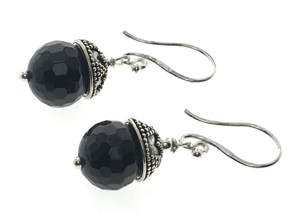 Onyx Ball .925 Sterling Silver Earrings - Essentially Silver Jewelry
