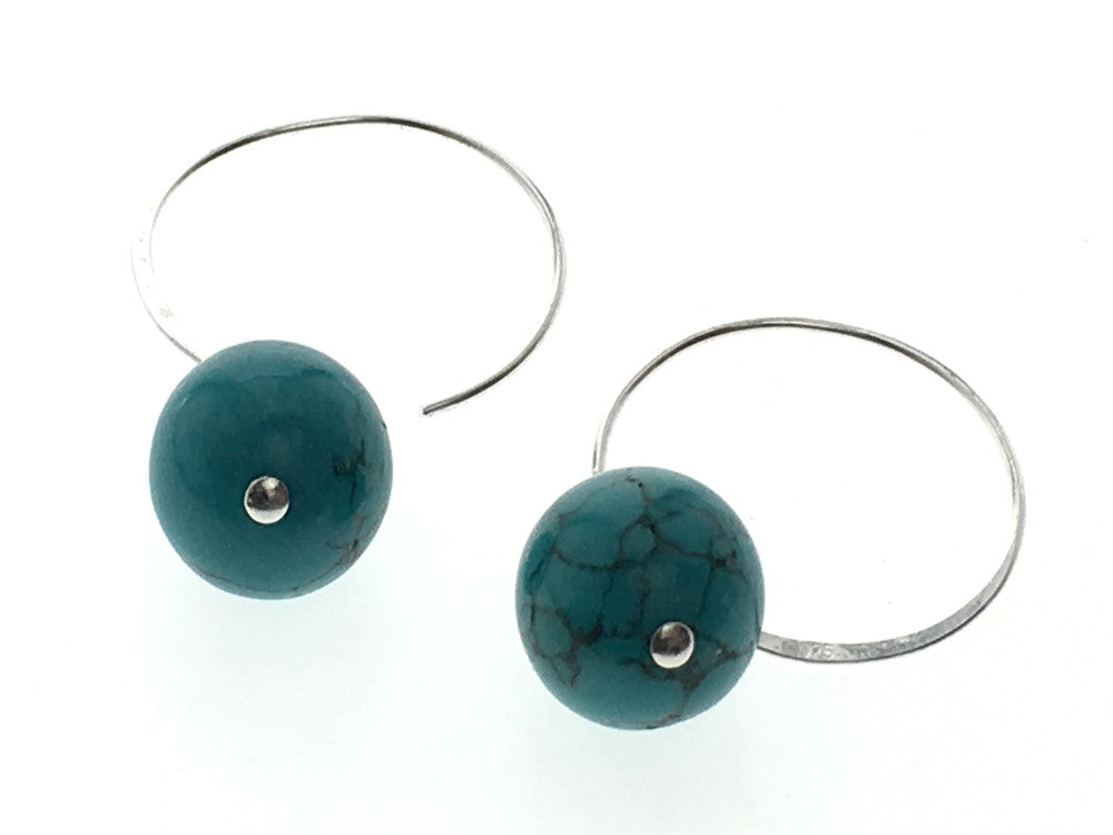 Turquoise like 12mm Ball .925 Hoop Sterling Silver Earring - Essentially Silver Jewelry