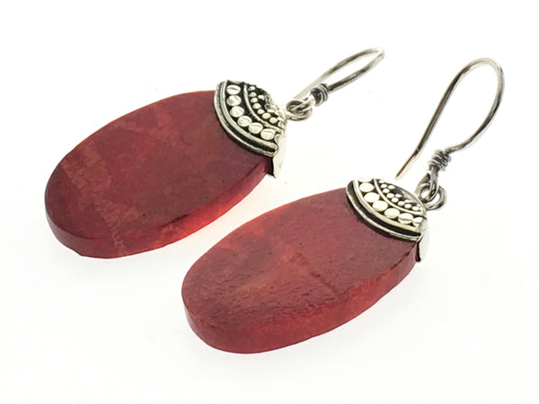 Red Coral Oval .925 Sterling Silver Earrings - Essentially Silver Jewelry