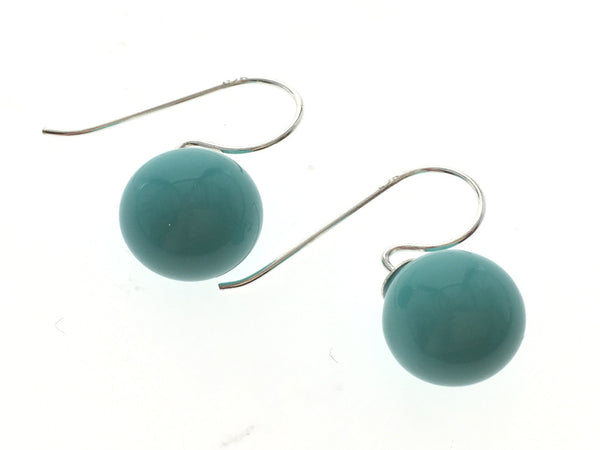 Turquoise Like 10mm Ball Drop Sterling Silver Earrings - Essentially Silver Jewelry