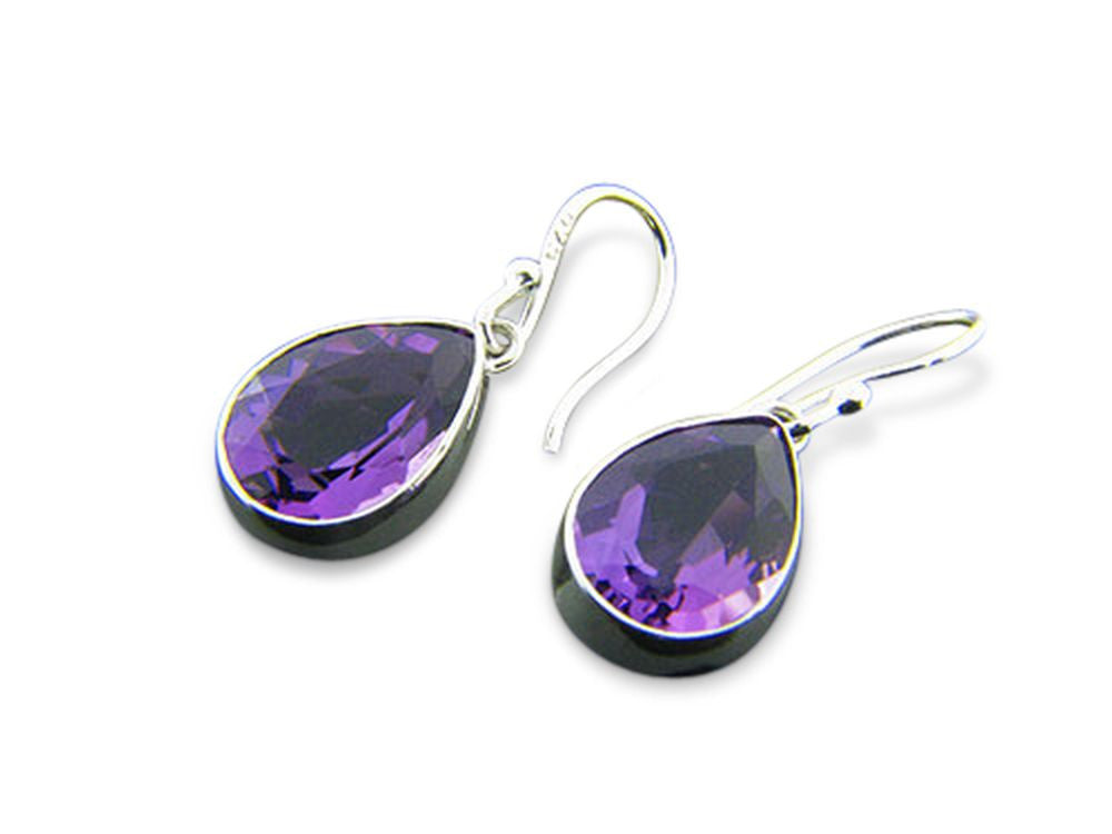 Amethyst Like Large .925 Sterling Silver Tear Drop Earring - Essentially Silver Jewelry