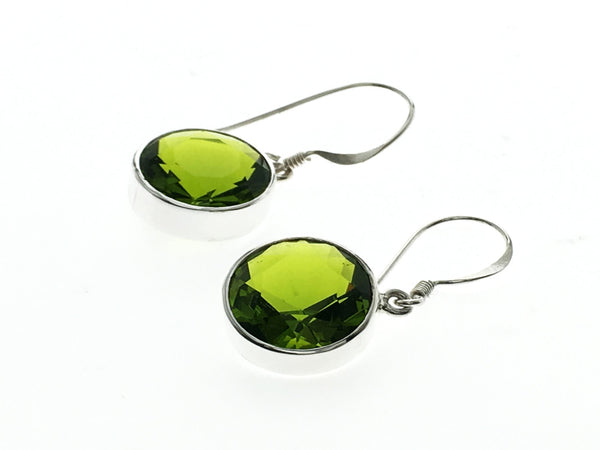 Peridot 12mm Round Sterling Silver Earrings - Essentially Silver Jewelry