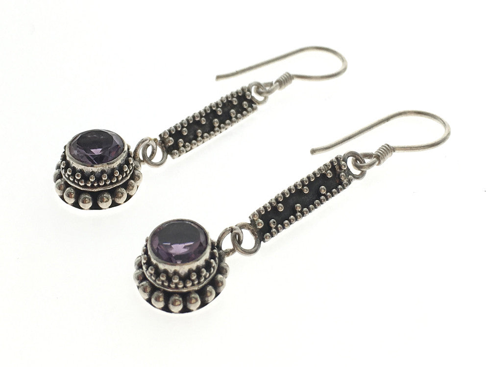 Amethyst Ethnic Sterling Silver Earring - Essentially Silver Jewelry