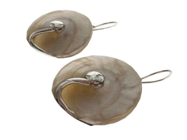 Shell Round .925 Sterling Silver Earrings - Essentially Silver Jewelry