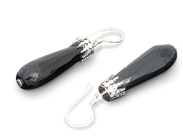 Onyx Faceted .925 Sterling Silver Drop Earrings - Essentially Silver Jewelry