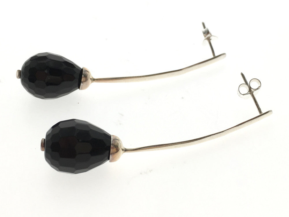 Onyx Faceted .925 Sterling Silver Drop Earring