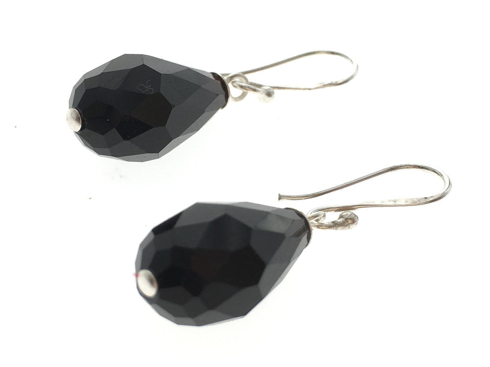 Black Faceted Teardrop 10mm .925 Sterling Silver Earring - Essentially Silver Jewelry