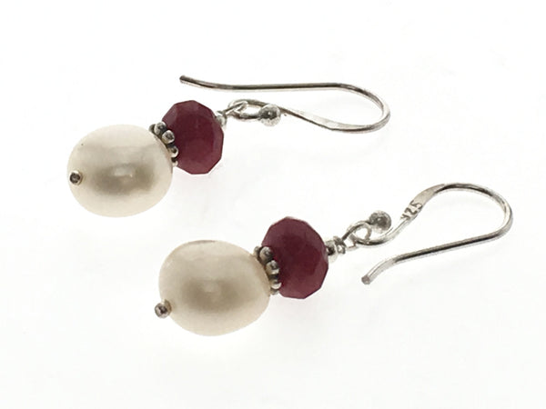 Carnelian & Pearl Drop Sterling Silver Earring - Essentially Silver Jewelry