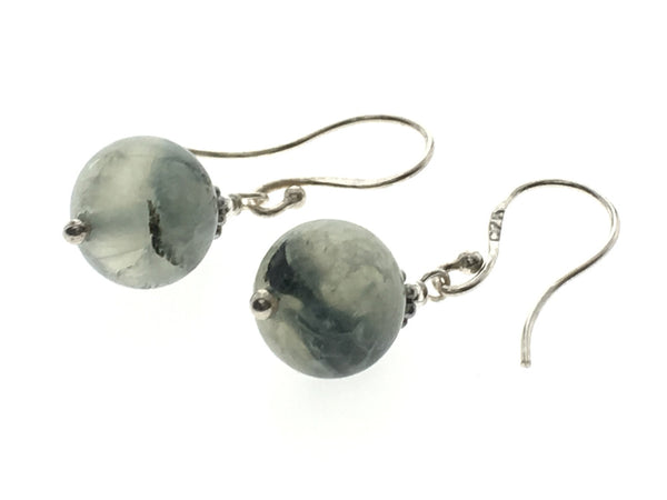 Pale Green Splotched 10mm Ball Sterling Silver Earrings