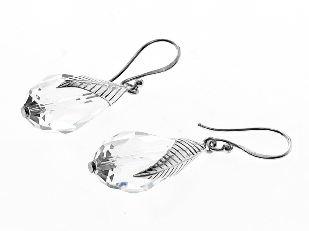 Crystal Faceted Teardrop .925 Sterling Silver Leaf Earring - Essentially Silver Jewelry