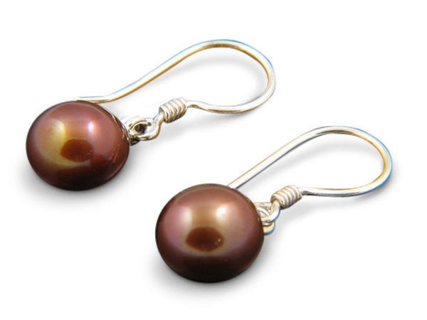 Pearl Gold Drop .925 Sterling Silver Earring - Essentially Silver Jewelry