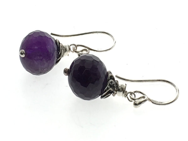 Amethyst Faceted 10mm Ball .925 Sterling Silver Earring