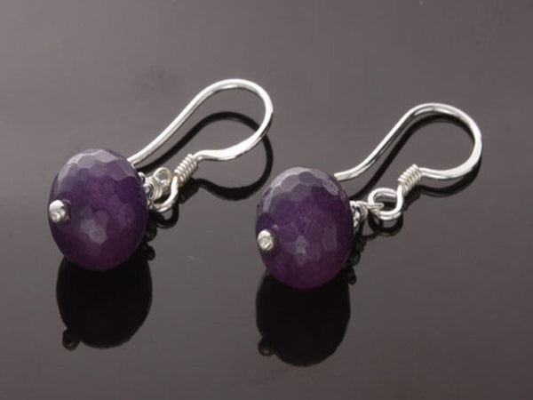 Amethyst Faceted 10mm Ball .925 Sterling Silver Earring - Essentially Silver Jewelry