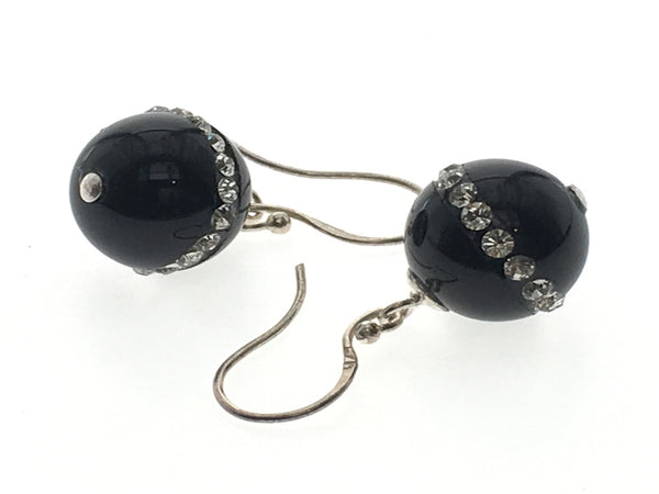 Black Crystal Studded Ball Sterling Silver Earring - Essentially Silver Jewelry