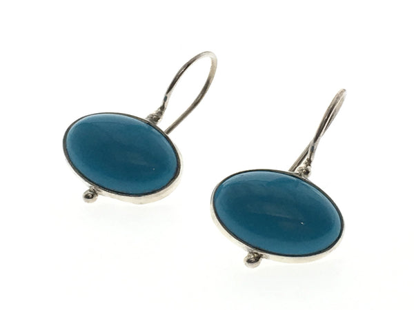 Turquoise Oval .925 Sterling Silver Earrings - Essentially Silver Jewelry