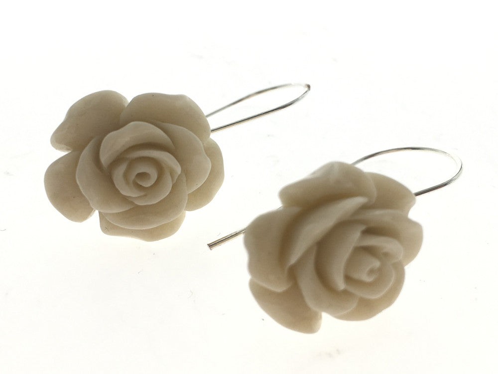 Rose Cream Resin  .925 Sterling Silver Earrings - Essentially Silver Jewelry