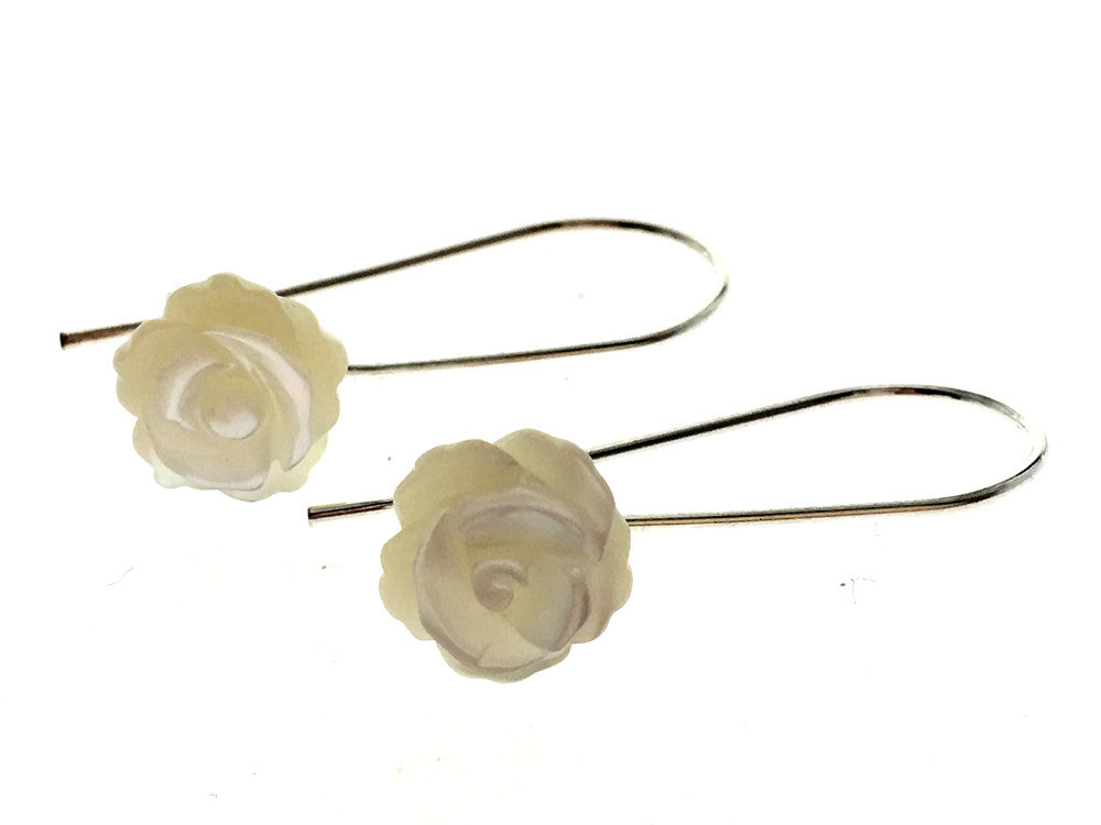 Rose White Shell Drop Sterling Silver Earring - Essentially Silver Jewelry