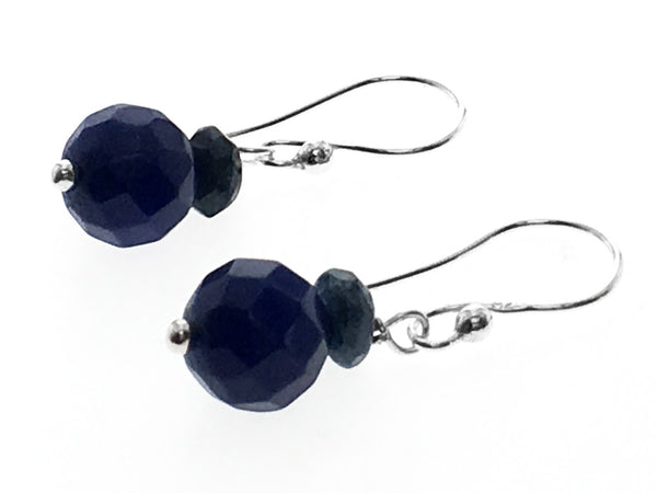 Blue Double Ball .925 Sterling Silver Drop Earring - Essentially Silver Jewelry