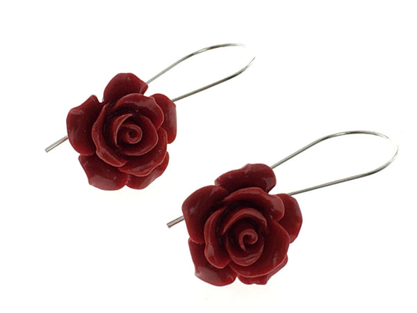 Rose Resin Red Drop .925 Sterling Silver Earring - Essentially Silver Jewelry