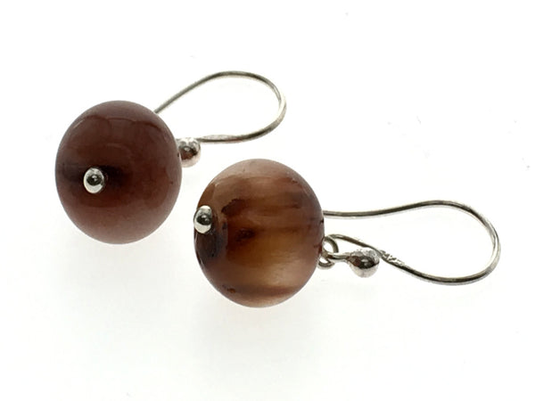 Brown 10mm ball Sterling Silver Drop Earring - Essentially Silver Jewelry